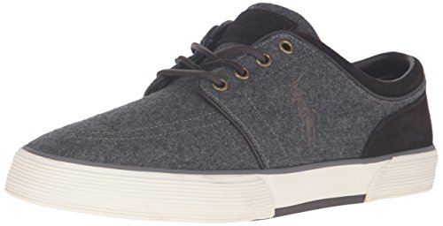 Ralph Lauren Polo Men Faxon Low Fashion Sneaker, Grey/Dark Brown, 7 D US