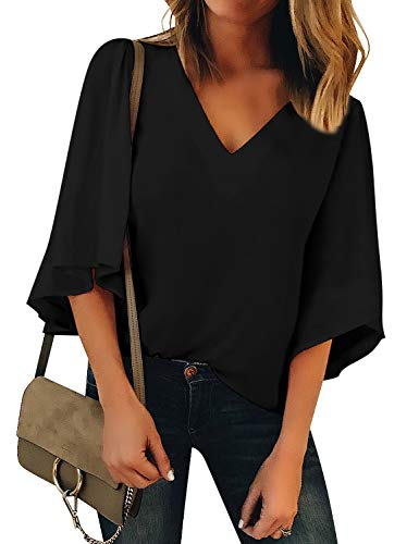 ACKKIA Women's Casual V Neck 3/4 Bell Sleeves Loose Blouse Tee Shirt Solid Top Black Color Size ()
