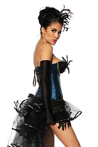 Burlesque Dessous puede de Corpiño con plumas pavo de diseño negro de color azul de oro, tamaño: L