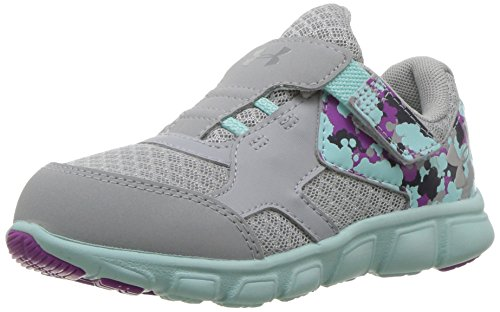 Under Armour Girls' Thrill Adjustable Closure, Overcast Gray/Blue Infinity/Metallic Silver, 9K M US Toddler
