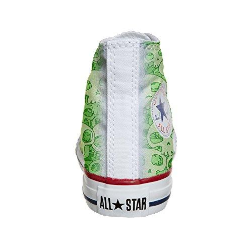 Converse All Star Hi chaussures coutume (produit artisanal) Green Skull