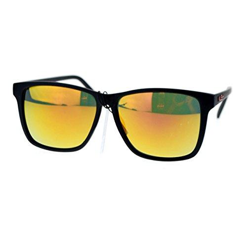 Kush Mens Matte Black Gangaster mirrored Mirror Lens Thin Plastic Sunglasses - Matte Lens Sunglasses