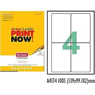 Desmat A4 Size Paper Labels For Laser, Inkjet   Copiers  4 Label Sheet  Pack Of 50 Sheets