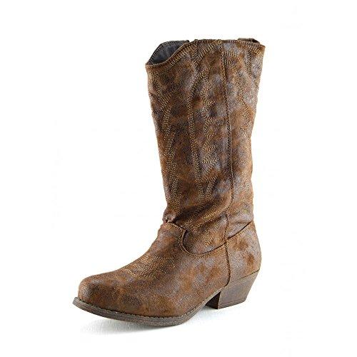 Damen Frauen Mid-Calf-Block-Ferse Reiten Cowboy Biker Boots Zip Ups Schuhe Tan