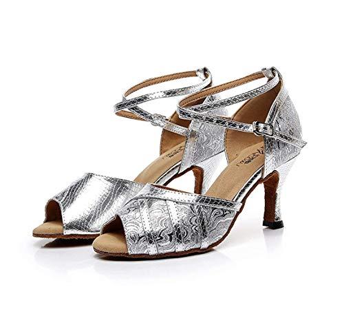 5cm 5cm a ZHRUI ZHRUI Black Dimensione 7 Heel Latino da Latina UK Moda da 8 Sandali Mano Fatti Sintetica 7 con Heel 5cm Salsa Donna alla Danza Black Colore qfUPxq
