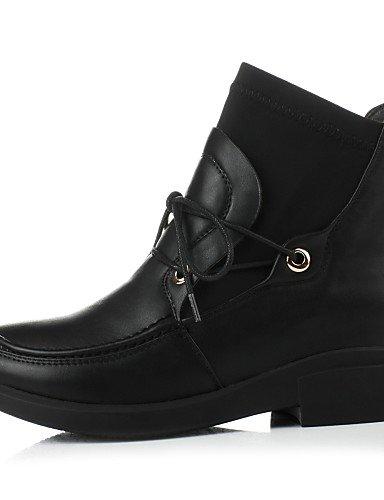 Robusto Uk5 La Casual Xzz Zapatos Cn34 Brown us5 Uk3 Redonda De 5 Punta us7 A Cn38 Moda 5 Eu35 Satén negro Tacón Elástico Vestido Brown Mujer Semicuero Botas Eu38 zFFI7