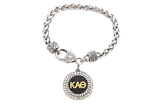 Kappa Alpha Theta Sorority Crystal Circle Silver Bracelet Jewelry Rush Gift