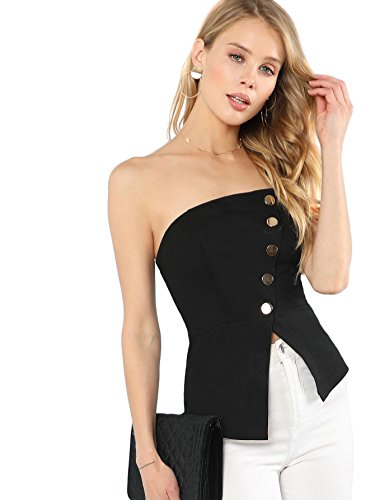 MAKEMECHIC Women's Stretchy Button Embellished Split Front Bandeau Tube Top Black XS