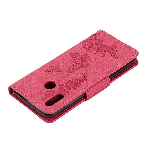 Funda Huawei P20 Lite, SsHhUu Funda PU Piel Genuino Carcasa en Folio [Ranuras para Tarjetas] [Cierre Magnetico] con Acollador para Huawei P20 Lite (5.84) Rojo Rose Rojo Rose