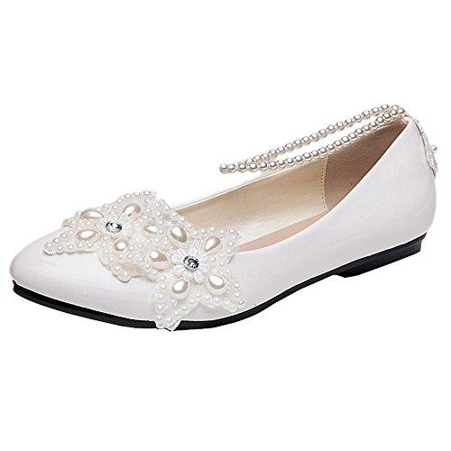 Flat wedding shoe amazon getmorebeauty womens mary jane flats pearls across the top beach wedding shoes 8 bm us junglespirit Choice Image
