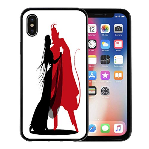 Semtomn Phone Case for Apple iPhone Xs case,Red Witch Silhouette of Romantic Devil Dancing Lady Halloween Dance Autumn Bats for iPhone X Case,Rubber Border Protective -