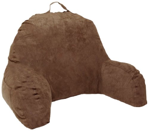 brown microsuede bed rest reading pillow u0026 support bed backrest pillow with arms bedrest pillow