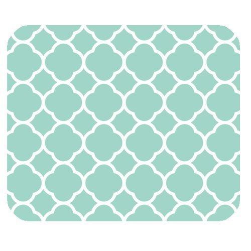 Non-Skid Natural Rubber Back Mint Quatrefoil Pattern