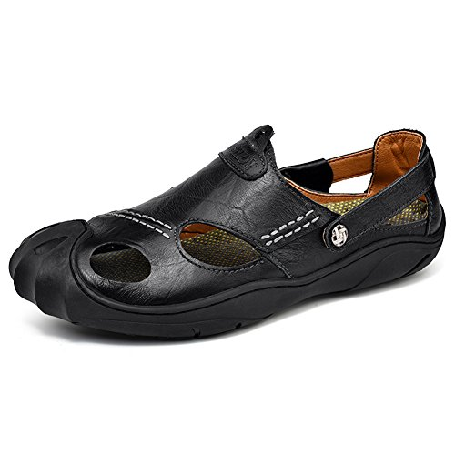 GOMNEAR Mens Leather Closed Toe Sandals Summer Slip-on Anti-Slip Slipper Fashion Beach Casual Walking Shoes Black Rtvty32eBk
