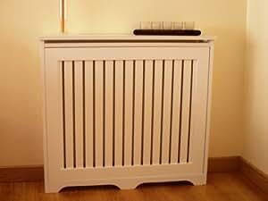 Mueble decorativo cubre radiador, fibra lacada Blanca, 90x83x18cm, fácil montaje en KIT.