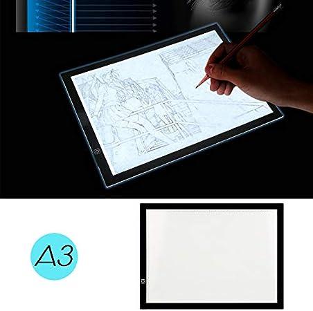 Caja luz Dibujo A3,Pantalla Luz Dibujo A3 LED Mesa de Caja de Luz con Tres Modos de Brillo Ajustable Digital Tablero de Rastreo para Bocetos, Diseño, Artistas Negro 47 x 34.5cm: Amazon.es: