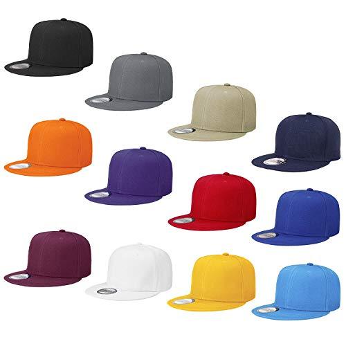 Falari Wholesale 12 Pack Snapback Hat Cap Hip Hop Style Flat Bill Blank Solid Color Adjustable Size