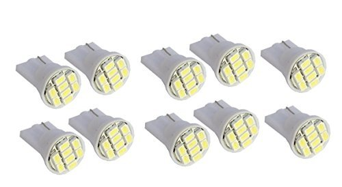 Cutequeen 10pcs LED Car Lights Bulb White T10 3528 8-smd 194 168 (Pack of 10)