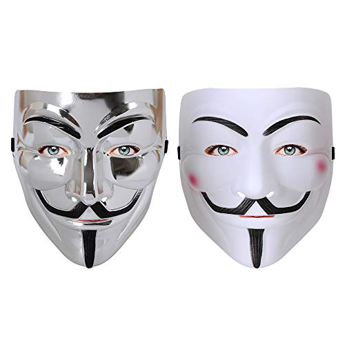 2pcs V for Vendetta Mask Halloween Costume Cosplay Guy Party Mask -