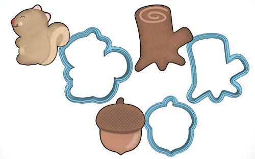 (Woodland Creatures Cookie Cutter Set - American Confections - Squirrel, Acorn, Tree Stump - MADE IN THE USA)