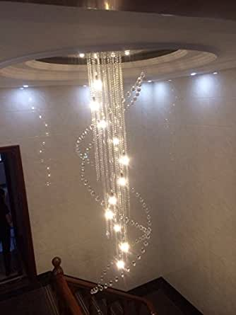 Siljoy Large Spiral Sparkle Crystal Chandelier Modern