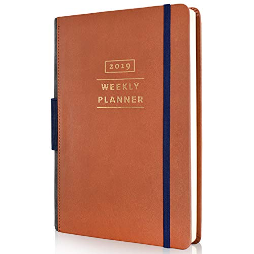 Daily Planner 2019 – Weekly Monthly Planner with Calendar Agenda, Inner Pocket Organizer, Pen Holder & Note Pages – Tan Leather (Mid 5 x 8)