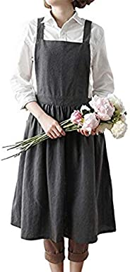 INNIFER Cotton Linen Bib Apron Cross Back Work Apron for Cooking,Baking,Gardening