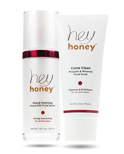 Hey Honey Skin Care Come Clean Duet Good Morning Honey Silk Facial Serum Makeup Primer And Come Clean Facial Scrub With Propolis And Minerals Exfoliate Clarify - Good Skin Morning Serum