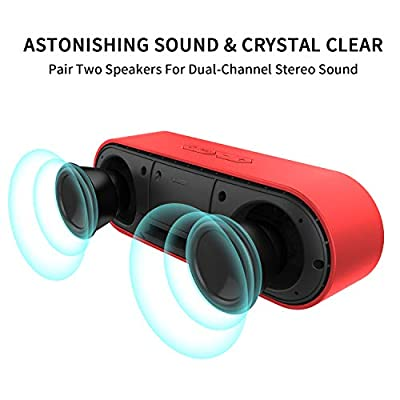 W-KING Wireless Bluetooth Speakers - 6W Portable Speaker Loud Dual Stereo Sound, 14 Hour Playtime, 40 ft Bluetooth Range & Built-in Mic Outdoor/Home Bluetooth Speaker