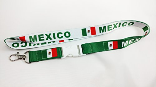 - Mexico Flag Reversible Lanyard Keychain with Quick Release Snap Buckle and Metal Clasp - ID Lanyard for Keys, Badges, USB, Whistle - ID Holder Keychain for Women, Men, Kids (Green or White) 1-Pack