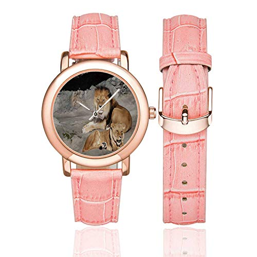 Zoo Rose Gold Leather Strap Watch,Male and Female Lions Basking in The Sun Wild Cats Habitat King of Jungle for Woman,Case Diameter:1.4