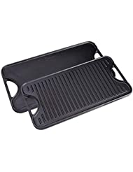Victoria Rectangular Cast Iron Double Burner, Reversible Griddle Grill Seasoned with 100% Kosher Certified Non-GMO Flaxseed Oil, 18.5 x 10 Inch, Black