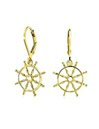Bling Jewelry Nautical Ships Wheel Gold Plated Leverback Earrings