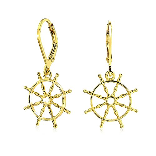 Nautical Ships Wheel Gold Plated Leverback Earrings
