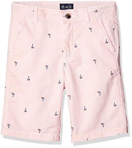 (The Children's Place Boys' Big Palm Tree Stripe Shorts, Coral sea 14)