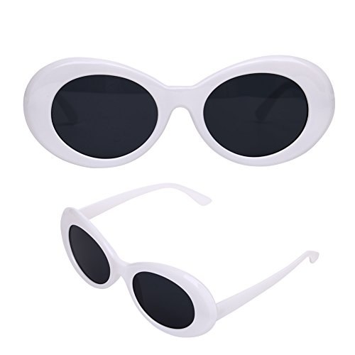 Clout Goggles, Mod Oval White Sunglasses with Reinforced Metal Hinges, Round Lens - Glass Sunglasses Google