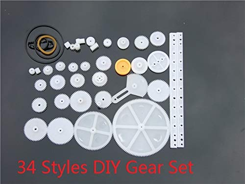 34 pcs/lot Plastic DIY Gear Set Include Rack Pulley Belt Worm Single Double Gears Russia ()