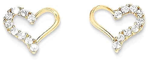 ICE CARATS 14k Yellow Gold Cubic Zirconia Cz Heart Post Stud Earrings Love Fine Jewelry Gift Set For Women Heart by ICE CARATS (Image #1)
