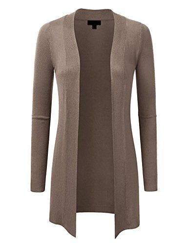 MAYSIX APPAREL Womens Long Sleeve Knit Sweater Long Line Open Front Cardigan MOCHA L