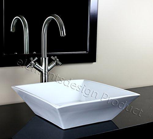 Bathroom Porcelain Ceramic Vessel Sink CV7034L6 Brushed Nickel Faucet Drain