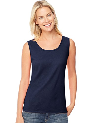 Hanes by Women's Mini-Ribbed Cotton Tank Navy_XL ()