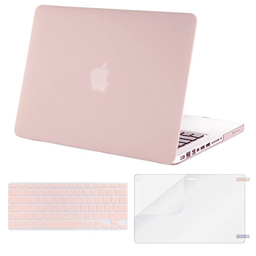 Mosiso Plastic Hard Case with Keyboard Cover with Screen Protector Only for Old MacBook Pro 13 Inch with CD-ROM (Model: A1278, Version Early 2012/2011/2010/2009/2008), Rose Quartz
