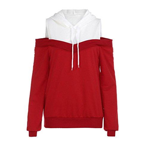 iTLOTL Womens Off Shoulder Long Sleeve Hoodie Sweatshirt Hooded Pullover Tops Blouse(US:12/CN:XL, Red)
