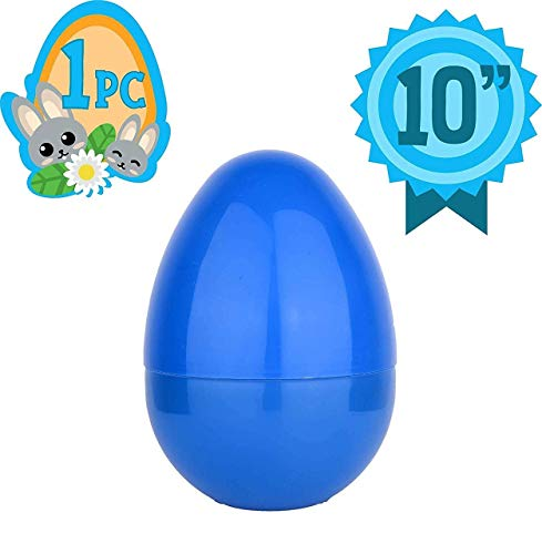 Totem World Jumbo 10-Inch Solid Blue Easter Egg - The Perfect Size For Holding Toys, Candy Bars, And Stuffed Animals - Easy To Open, Tough To Break - Great As Party Favors And Easter Basket Stuffers ()
