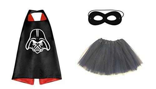 [Rush Dance Kids Children's Deluxe Comics Super Hero CAPE & MASK & TUTU Costume (Starwars Darth Vader (Black] (World War 2 Halloween Costumes)