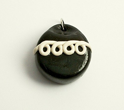 Chocolate Cupcake with White Squiggle Icing Necklace