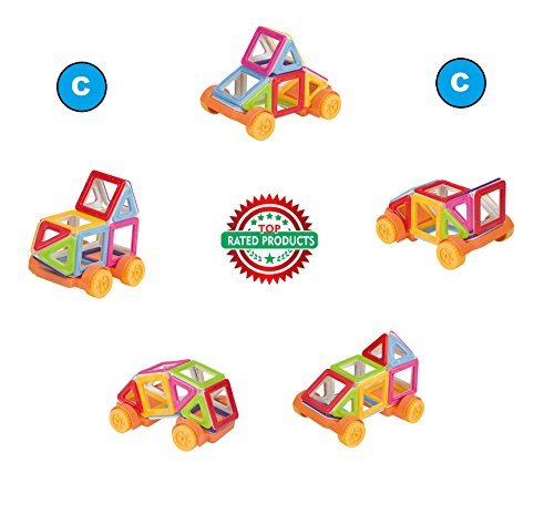 Magnetic Blocks, 3D Construction Building Blocks, Magical Magnet Tiles, Educational Toys for Kids Creativity Thinking beyond Imagination, Logical, Inspirational, Pretend Play Stack Toys Set C