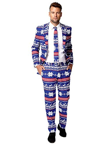 Good Pair Halloween Costumes For Guys (OppoSuits Men's The Rudolpoh Party Costume Suit, Blue/White/Red,)