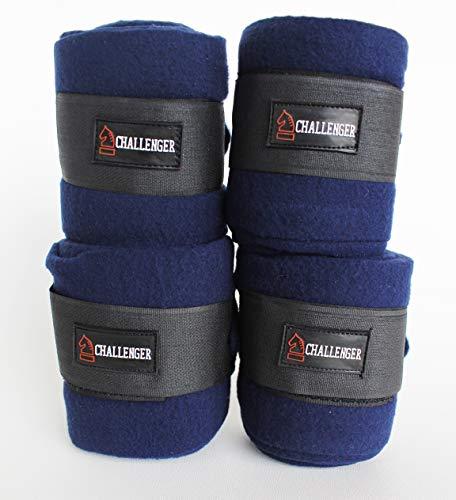 CHALLENGER Horse Tack Grooming Leg Polo Wrap Set of 4 Soft Fleece Navy Blue 95R04 (Blue Horse Blanket Navy)