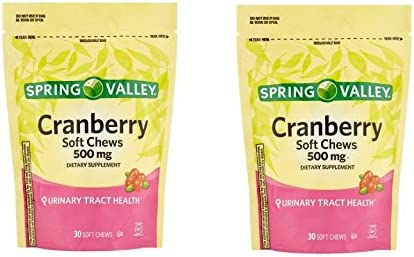 Spring Valley Natural Cranberry 500 Mg Soft Chews Pack of 2 60 Chews Total
